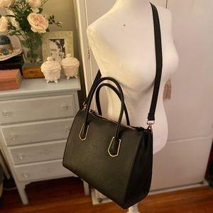 Black tote bag with shoulder strap